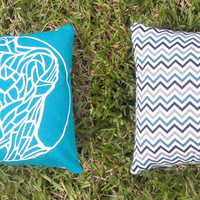 """Upcycled Teal Tshirt """"Body Project"""" Pillow with Black, Grey and Teal Chevron Pattern"""