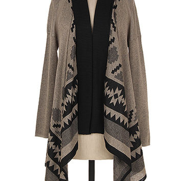 Mocha/Black Aztec Tribal Print Cardigan Sweater Jacket