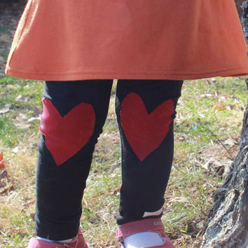 Black and Red Heart Knee Patches..Kids Leggings..Baby leggings..Childrens Leggings.Kids & baby..Leggings..Toddler SZ NB to 5T