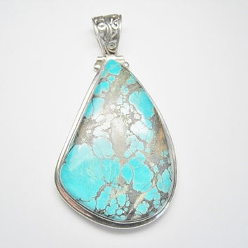 HUGE Turquoise Pendant 925 Sterling Natural Veined Statement