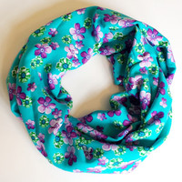 Bright Floral Toddler Infinity Scarf Turquoise with Purple Flowers Rayon Tube Scarf Childrens Fall Scarves Kids Fashion