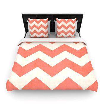 "Kess InHouse Ann Barnes ""Vintage Coral"" Orange Chevron Queen Woven Duvet, 88 by 88-Inch"
