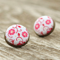 Stud Earrings - Pink Flowers Studs - Pink on White Earrings - Romantic Shabby Chic Fabric Buttons Jewelry Antique Posts
