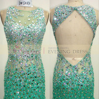 Freeshipping 2015 Prom Dress Trends DW50370 Backless Mint Mermaid Luxury crystal beaded prom dress, View sequin mermaid prom dress, Choiyes Product Details from Chaozhou Choiyes Evening Dress Co., Ltd. on Alibaba.com