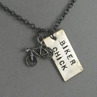 BIKER CHICK Necklace  - Triathlon Jewelry  - Bike Jewelry - Hand stamped on 18 inch gunmetal chain - Biker Girl