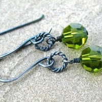 Green Earrings,  Sterling Silver, Olive Green Swarovski Crystals, Oxidized Silver