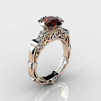 Art Masters Caravaggio 14K Rose Gold Gold 1.0 Ct Brown and White Diamond Engagement Ring R623-14KRGDBRD