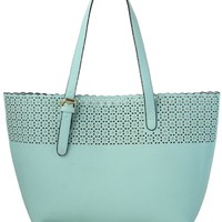 Scrolled Cutout Twinset Handbag in Pastel Blue