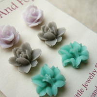 Flower Earrings Trio. Mint Lily Earrings, Gray Lotus Earrings, Lavender Rose Earrings. Pastel Flower Stud Earrings. Bridesmaid Gifts. FSE3.