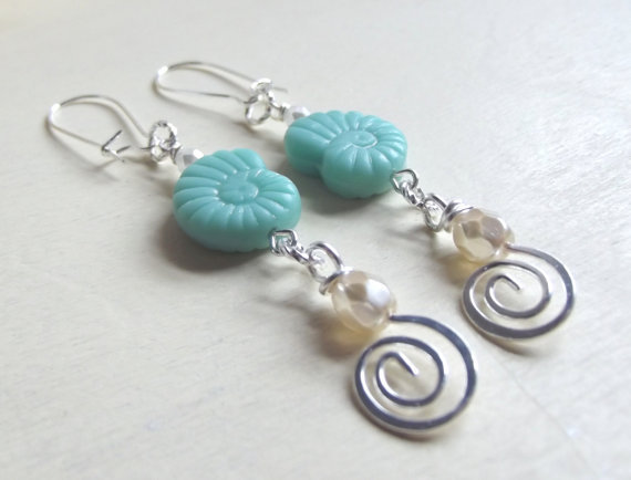 Nautilus Shell Earrings:  Long Dangle, Mint Green Turquoise, Ivory Snow White Pearl Beach Jewelry