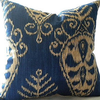 Sapphire Ikat Print Pillow Cover 18x18 pillow cover