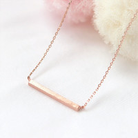 Pink Gold Bar Necklace