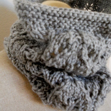 SALE ENDS OCT 1st !!  Beautiful silver grey Hand Knit Cowl Neck Scarf, Cowl Neck Scarf, Infinity Scarf lace cowl