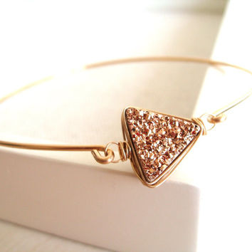 Triangle druzy Bangle Arrow Aztec Geometric Pale rose gold Gift for her under 55 Stacking bangle
