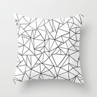 Abstract Outline Black on White Throw Pillow by Project M   Society6