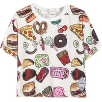 Sheinside® Women's White Short Sleeve Fast Food Print T-shirt