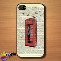 Vintage Red London Telephone British Custom iPhone 4 or 4S Case Cover