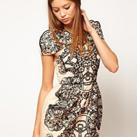 Alice McCall Silk Cotton Dress With Flocked Print at asos.com