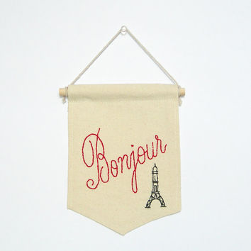 Bonjour sign, embroidered mini banner, banner wall hanging, French, house warming, birthday gift, handmade gift, hand embroidery wall decor