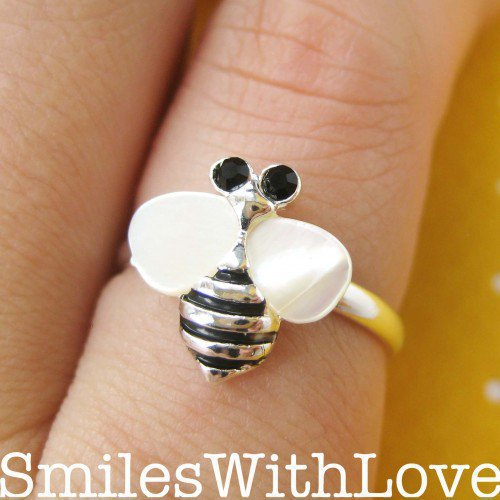 Adjustable Bee Ring in Silver with Pearl like Wings