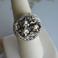 Three Little Foxes Ring in Bronze