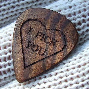 Handmade Custom Engraved I Pick You - Exotic Wood Guitar Pick - Caribbean Rosewood