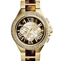Michael Kors Women's Chronograph Camille Tortoise and Gold-Tone Stainless Steel Bracelet Watch 43mm MK5901