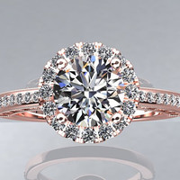 Victorian Inspired 14k Rose Gold Engagement Ring, Wedding Ring With 1.25ct VVS quality White Sapphire Center  W5WS14R