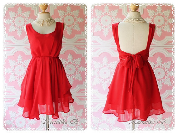 2 Left - A Party - Prom Party Cocktail Bridesmaid Dinner Wedding Night Dress Asymmetric Hem Bright Burgundy Sweet Gorgeous Glamorous