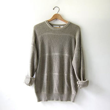 vintage slouchy sweater. natural cotton knit sweater. oversized pullover shirt.