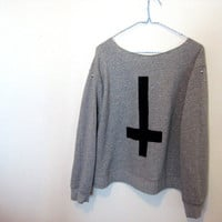 Items similar to Inverted cross stud sweatshirt off the shoulder medium on Etsy
