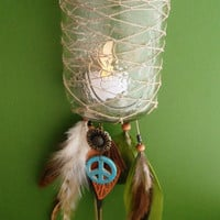 Dream Catcher Lantern - Ball Jar - Peace - Bohemian - Candle