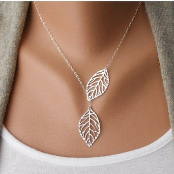 Fashion Adjustable Silver Leaves branches Clavicle Necklace Vintage Antique Silver Necklace B45