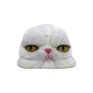 White Cat Baseball Hat created by ErikaKaisersot | Print All Over Me