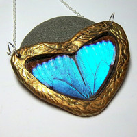Real Butterfly Wing Necklace Butterfly Jewelry BLUE MORPHO HEART