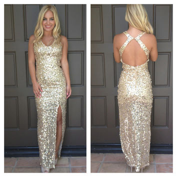 Miss Glamour Sequin Maxi Dress - GOLD