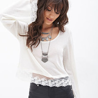 FOREVER 21 Floral Lace Knit Top Cream