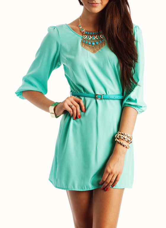 Mint 3/4 Sleeve Dress - FREE GIFT WITH PURCHASE