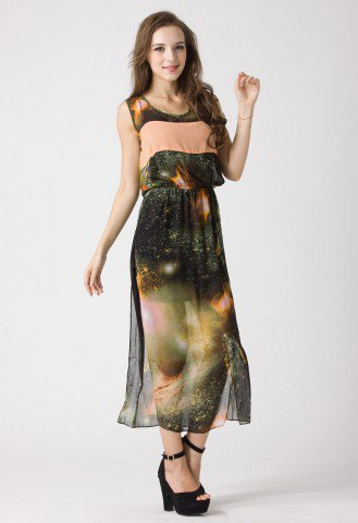 Galaxy Print Chiffon Dress  - Retro, Indie and Unique Fashion