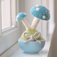 Needle Felted Toadstool Mushroom Potted Plant - Available in Red & Blue