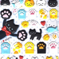 Kitty Cat Animal Themed Paw Shaped Puffy Stickers for Scrapbooking and