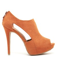 Orange Side Cutout Bootie Heels