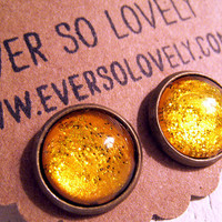 liquid sunshine - handmade yellow amber honey earrings - sparkly metallic round post