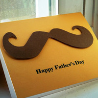 Father's Day Mustache Handmade Greeting Card by cherryblossomtrees