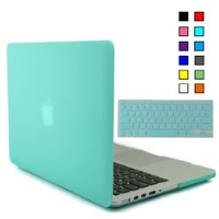 iBenzer - 2 in 1 Multi colors Soft-Touch Plastic Hard Case Cover & Keyboard Cover for Multi Sizes Macbook (Macbook Pro 13'' with retina display, Turquoise MMP13R-TBL+1)