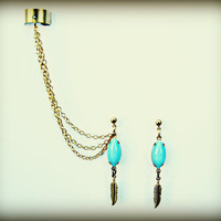 blue feather ear cuff and earrings, cute ear cuff, feather earrings, tribal earrings, vintage stlye