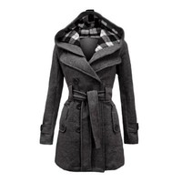 Envy Boutique Women's Military Button Hooded Fleece Belted Jacket Coat Plus Size