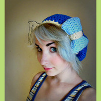 Dark Blue Crochet Beret Hat with Over Sized Light Blue  Bow- Women's Medium