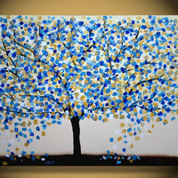 36x24 CUSTOM original Large Abstract Tree Contemporary Painting Textured Modern Palette Knife Impasto Landscape Metallic Fine Art by Orit