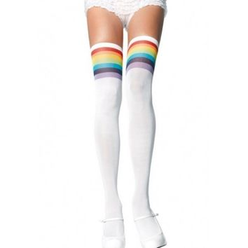 Rainbow Thigh Highs - #Sporty